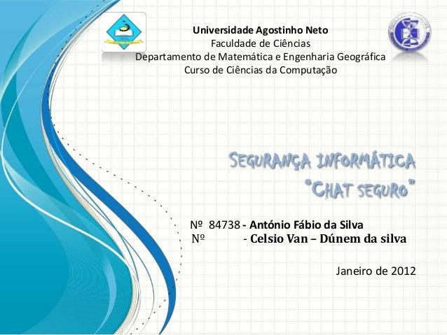 Universidade Agostinho Neto              Faculdade de CiênciasDepartamento de Matemática e Engenharia Geográfica         C...