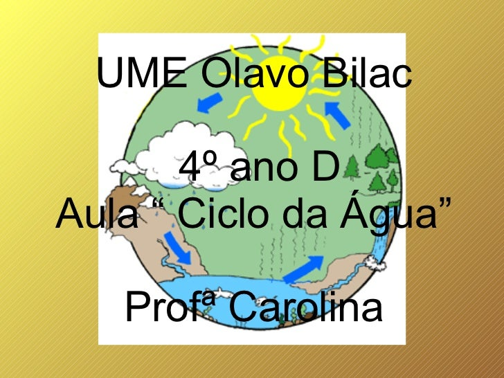 "UME Olavo Bilac       4º ano DAula "" Ciclo da Água""   Profª Carolina"