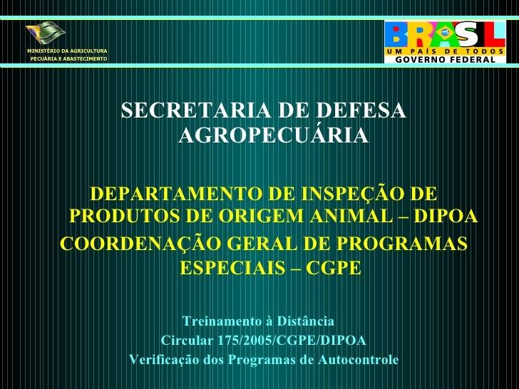 MINISTÉRIO DA AGRICULTURA PECUÁRIA E ABASTECIMENTO                            SECRETARIA DE DEFESA                        ...
