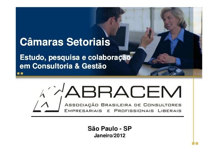 Câmaras SetoriaisEstudo, pesquisa e colaboraçãoem Consultoria & Gestão                  São Paulo - SP                    ...