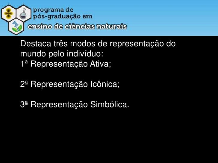 Destaca três modos de representação do mundo pelo indivíduo:<br />1ª Representação Ativa;<br />2ª Representação Icônica; <...