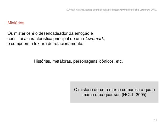 LONGO, Ricardo. Estudo sobre a criação e o desenvolvimento de uma Lovemark, 2010.MistériosOs mistérios é o desencadeador d...