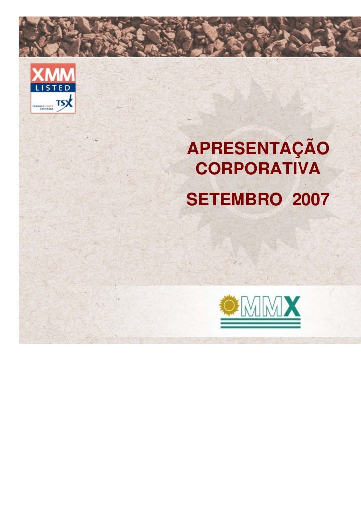 APRESENTAÇÃO CORPORATIVASETEMBRO 2007