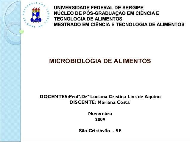 UNIVERSIDADE FEDERAL DE SERGIPEUNIVERSIDADE FEDERAL DE SERGIPE NÚCLEO DE PÓS-GRADUAÇÃO EM CIÊNCIA ENÚCLEO DE PÓS-GRADUAÇÃO...