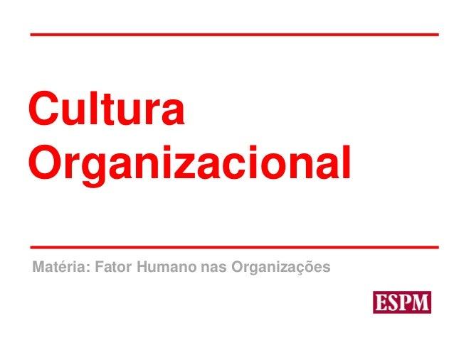 Matéria: Fator Humano nas Organizações Cultura Organizacional