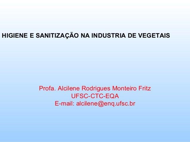 HIGIENE E SANITIZAÇÃO NA INDUSTRIA DE VEGETAIS          Profa. Alcilene Rodrigues Monteiro Fritz                       UFS...