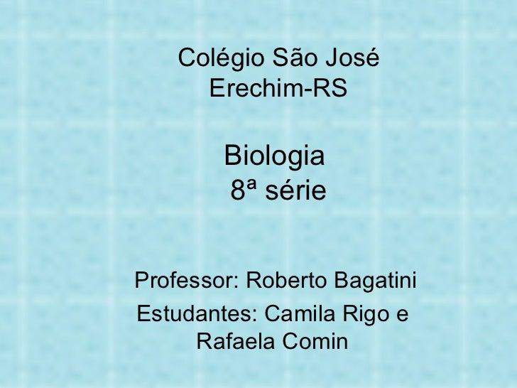 Colégio São José Erechim-RS Biologia  8ª série   Professor: Roberto Bagatini Estudantes: Camila Rigo e Rafaela Comin