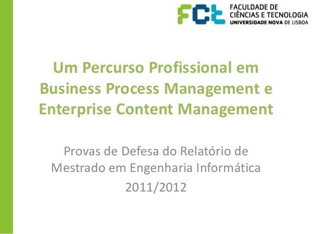 Um Percurso Profissional emBusiness Process Management eEnterprise Content Management  Provas de Defesa do Relatório de Me...