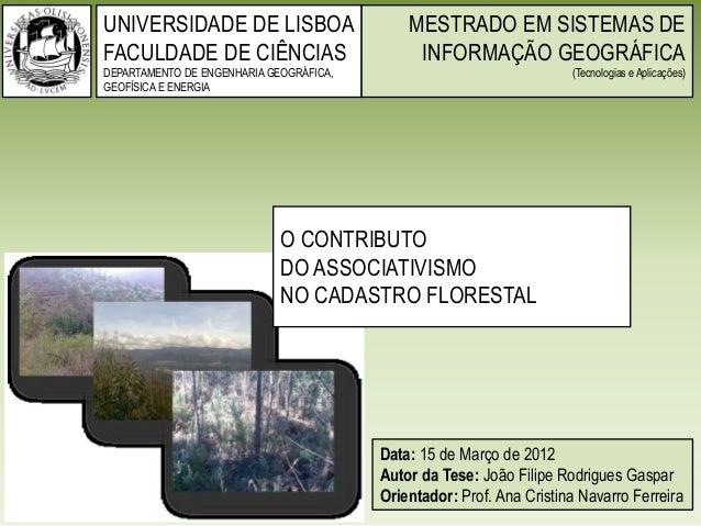 UNIVERSIDADE DE LISBOA FACULDADE DE CIÊNCIAS DEPARTAMENTO DE ENGENHARIA GEOGRÁFICA, GEOFÍSICA E ENERGIA Data: 15 de Março ...