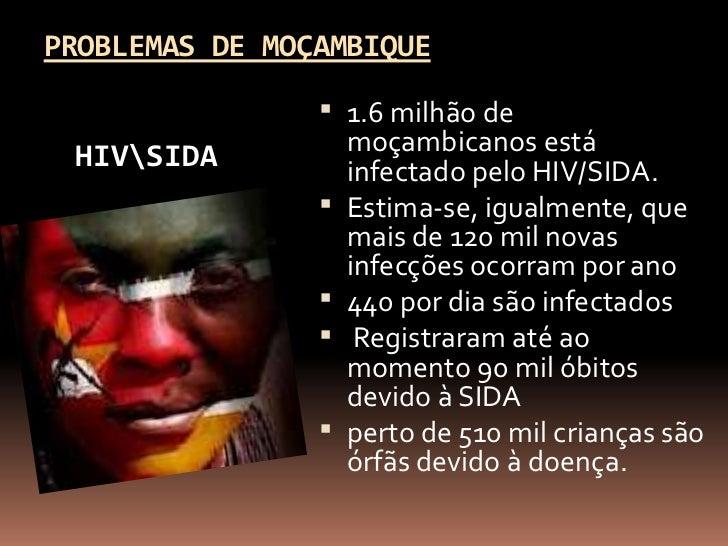 PROBLEMAS DE MOÇAMBIQUE                 1.6 milhão de HIVSIDA           moçambicanos está                    infectado pe...