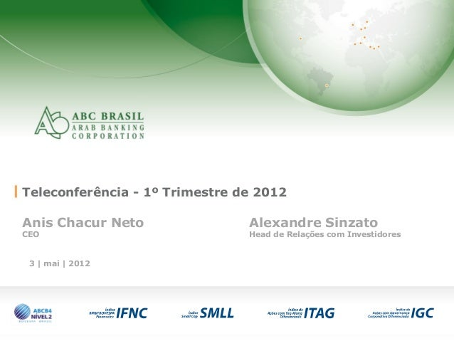1 3 | mai | 2012 Teleconferência - 1º Trimestre de 2012 Anis Chacur Neto Alexandre Sinzato CEO Head de Relações com Invest...