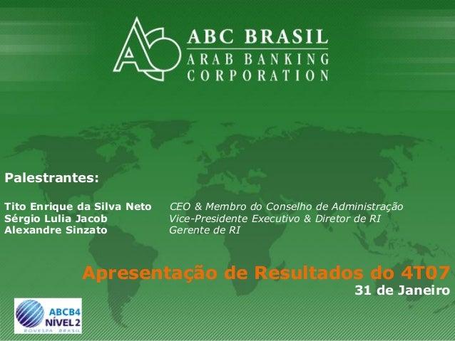 1 Palestrantes: Tito Enrique da Silva Neto CEO & Membro do Conselho de Administração Sérgio Lulia Jacob Vice-Presidente Ex...