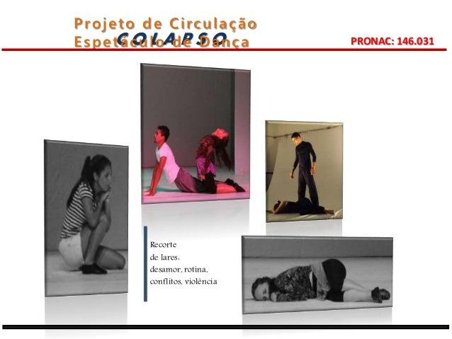 Projeto de Ci rculação  Espetáculo de Dança  C O L A P S O PRONAC: 146.031  Recorte  de lares:  desamor, rotina,  conflito...
