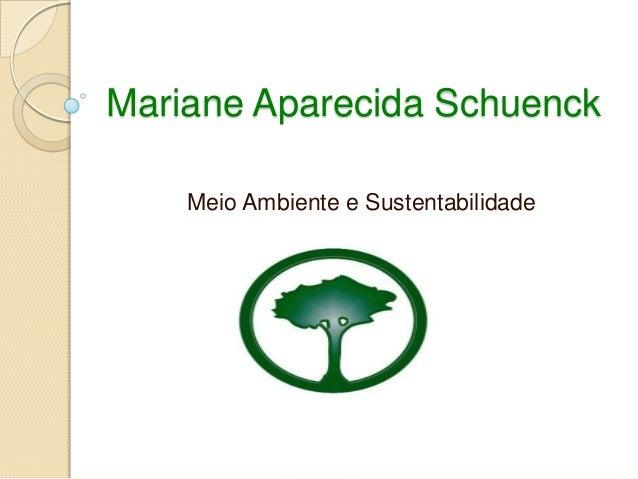 Mariane Aparecida Schuenck Meio Ambiente e Sustentabilidade