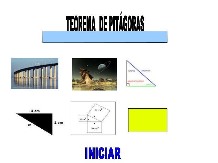 INICIAR TEOREMA  DE PITÁGORAS  INICIAR INICIAR