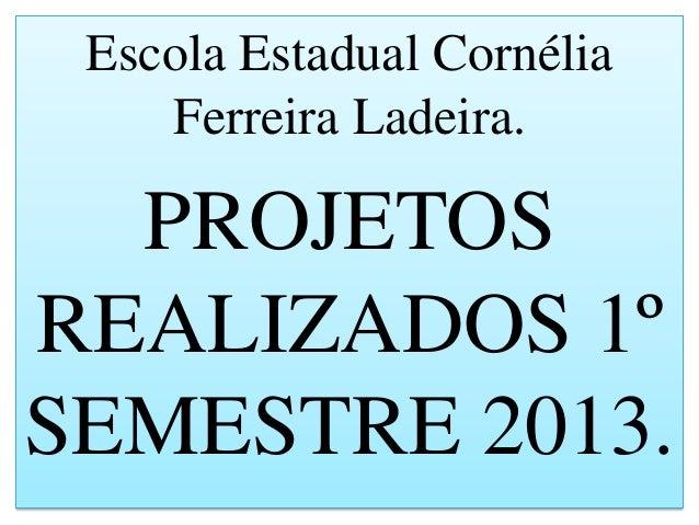 Escola Estadual Cornélia Ferreira Ladeira. PROJETOS REALIZADOS 1º SEMESTRE 2013.