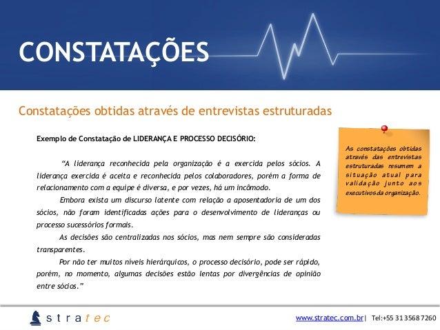 Constatações obtidas através de entrevistas estruturadas www.stratec.com.br  Tel:+55  31  3568  7260 CONSTATAÇÕES Ex...