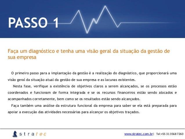 Faça um diagnóstico e tenha uma visão geral da situação da gestão de sua empresa www.stratec.com.br  Tel:+55  31  3568...