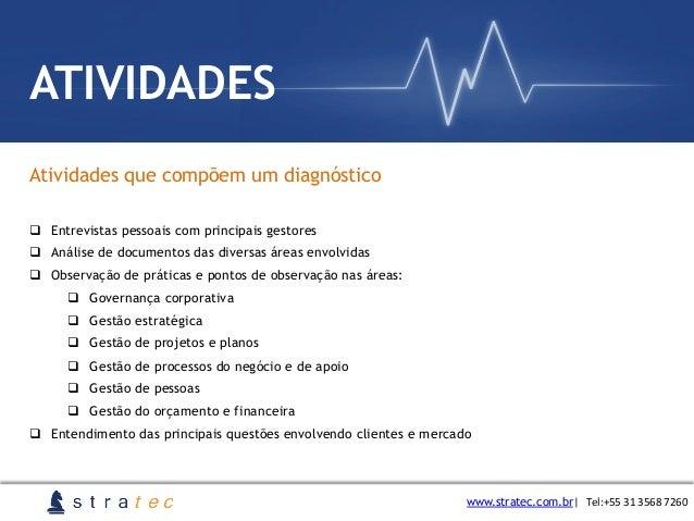 Atividades que compõem um diagnóstico www.stratec.com.br  Tel:+55  31  3568  7260 ATIVIDADES q Entrevistas pessoai...
