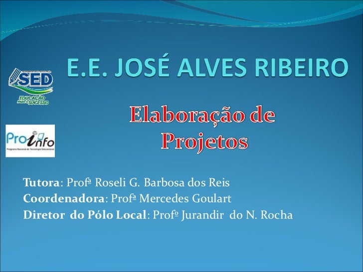 Tutora : Profª Roseli G. Barbosa dos Reis Coordenadora : Profª Mercedes Goulart Diretor  do Pólo Local : Profº Jurandir  d...