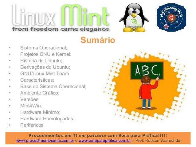 Apresentação do Curso de GNU/Linux Mint Desktop