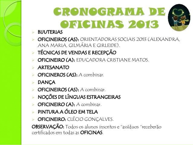PRINCIPAIS AÇÕES EM        2013   AQUISIÇÃO DOS MATERIAIS PEDAGÓGICOS E DESTINADOS AS OFICINAS.   ELEIÇÃO E POSE DA COMI...