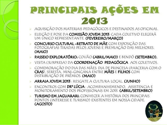 PRINCIPAIS AÇÕES EM        2013   EXECUÇÃO E DESENVOLVIMENTO DO S PROJETOS DE INTERVENÇÃO:    CONCEBIDO PELAS EDUCADORAS ...