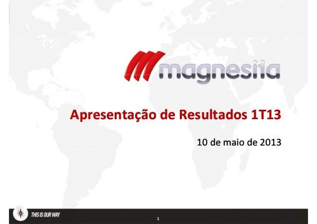 Apresentação de Resultados 1T13Apresentação de Resultados 1T1310 de maio de 201310 de maio de 20131