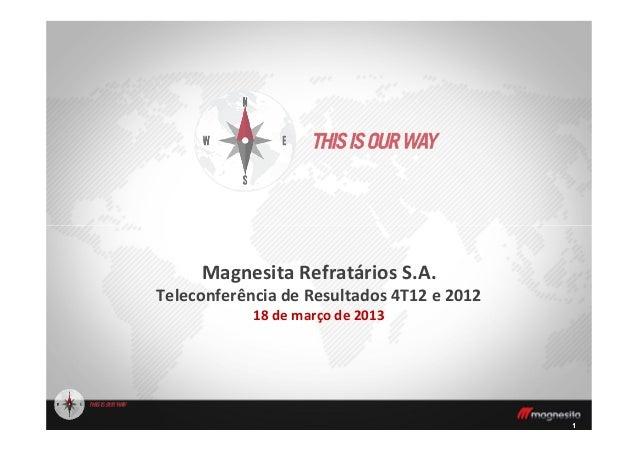 11Magnesita Refratários S.A.Teleconferência de Resultados 4T12 e 201218 de março de 2013