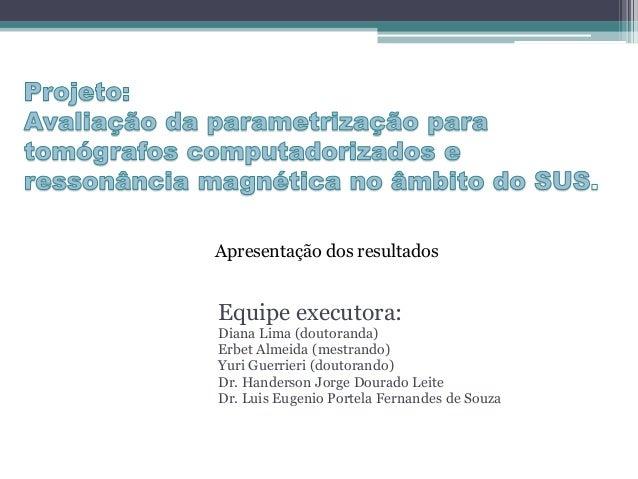 Equipe executora: Diana Lima (doutoranda) Erbet Almeida (mestrando) Yuri Guerrieri (doutorando) Dr. Handerson Jorge Dourad...