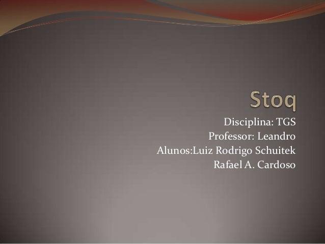 Disciplina: TGS Professor: Leandro Alunos:Luiz Rodrigo Schuitek Rafael A. Cardoso