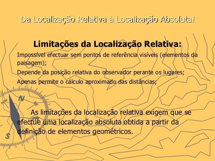 Da Localização Relativa à Localização Absoluta! <ul><li>Limitações da Localização Relativa: </li></ul><ul><li>Impossível e...