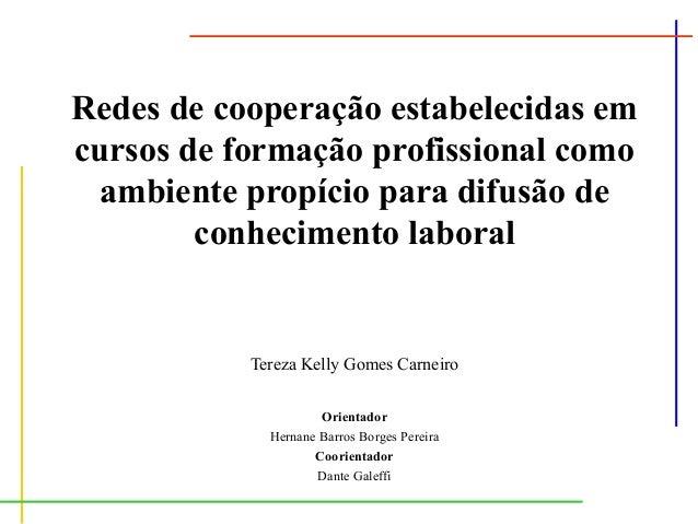 Redes de cooperação estabelecidas em cursos de formação profissional como ambiente propício para difusão de conhecimento l...