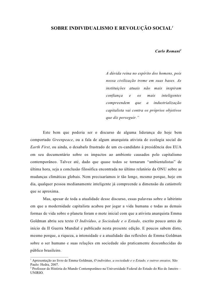 SOBRE INDIVIDUALISMO E REVOLUÇÃO SOCIAL1                                                                                  ...