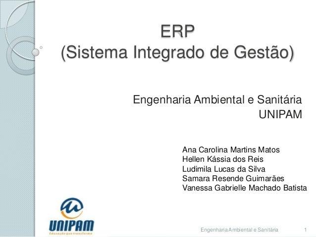 ERP (Sistema Integrado de Gestão) Engenharia Ambiental e Sanitária UNIPAM Ana Carolina Martins Matos Hellen Kássia dos Rei...
