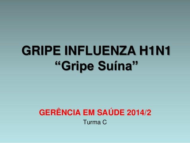 "GRIPE INFLUENZA H1N1  ""Gripe Suína""  GERÊNCIA EM SAÚDE 2014/2  Turma C"