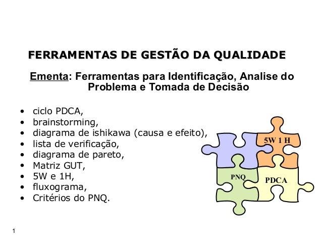 1 Ementa: Ferramentas para Identificação, Analise do Problema e Tomada de Decisão • ciclo PDCA, • brainstorming, • diagram...
