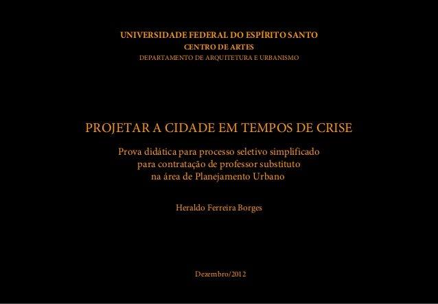 UNIVERSIDADE FEDERAL DO ESPÍRITO SANTO                    CENTRO DE ARTES         DEPARTAMENTO DE ARQUITETURA E URBANISMOP...
