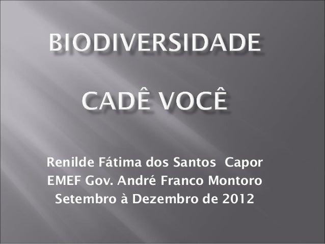 Renilde Fátima dos Santos CaporEMEF Gov. André Franco Montoro Setembro à Dezembro de 2012