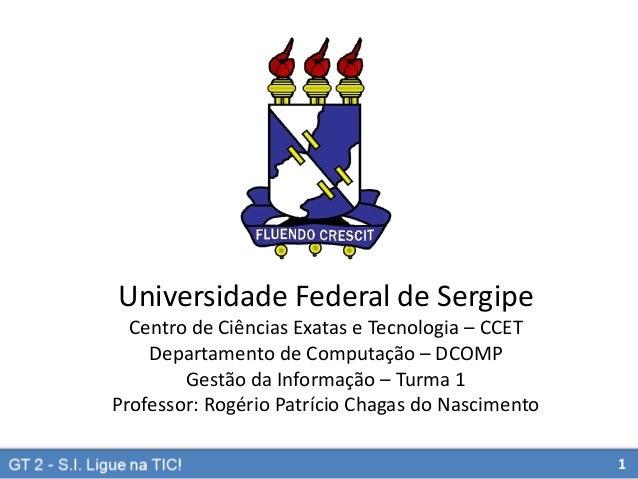 Universidade Federal de Sergipe Centro de Ciências Exatas e Tecnologia – CCET Departamento de Computação – DCOMP Gestão da...