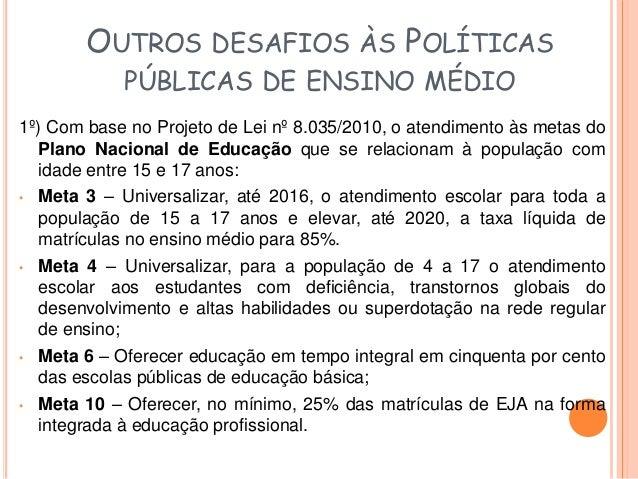 OUTROS DESAFIOS ÀS POLÍTICAS  PÚBLICAS DE ENSINO MÉDIO  2º) Ampliar a oferta pública de EM de qualidade, gratuito,  pedago...