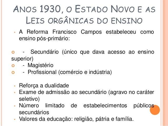 ANOS 1930, O ESTADO NOVO E AS  LEIS ORGÂNICAS DO ENSINO  Leis Orgânicas (Reforma Capanema - Ministro Gustavo  Capanema)  ...