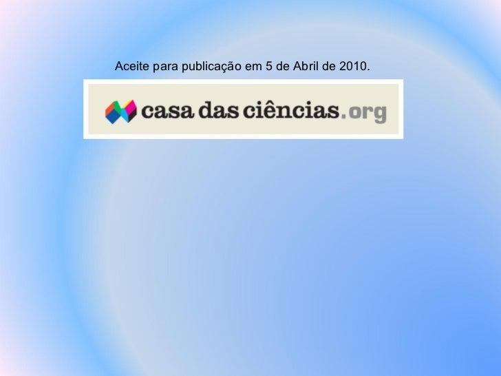 Aceite para publicação em 5 de Abril de 2010.
