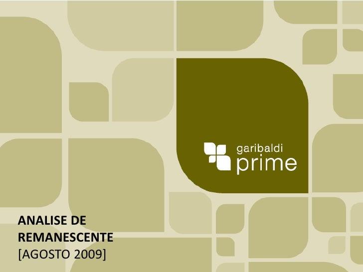 ANALISE DE REMANESCENTE [AGOSTO 2009]<br />