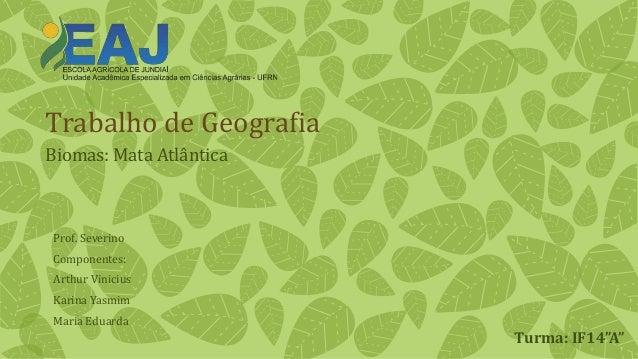 """Trabalho de Geografia  Biomas: Mata Atlântica  Turma: IF14""""A""""  Prof. Severino  Componentes:  Arthur Vinicius  Karina Yasmi..."""