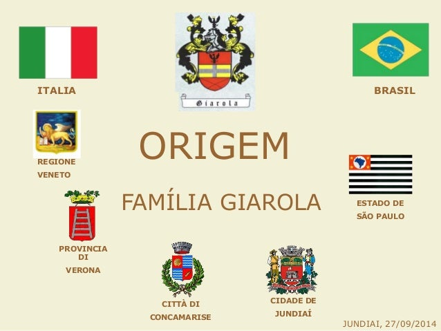 ORIGEM FAMÍLIA GIAROLA ITALIA PROVINCIA DI VERONA REGIONE VENETO CITTÀ DI CONCAMARISE BRASIL ESTADO DE SÃO PAULO CIDADE DE...