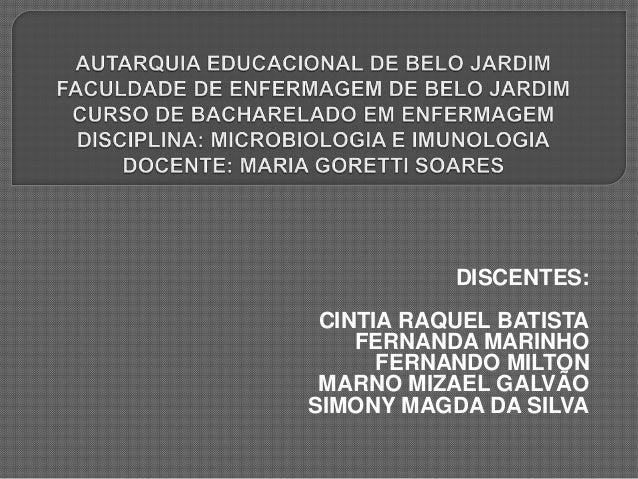 DISCENTES: CINTIA RAQUEL BATISTA FERNANDA MARINHO FERNANDO MILTON MARNO MIZAEL GALVÃO SIMONY MAGDA DA SILVA