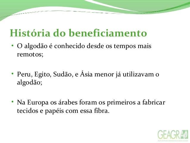 BENEFICIAMENTO DO ALGODÃO Slide 3
