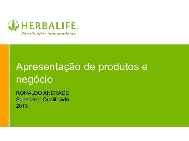 Apresentação de produtos e negócio RONALDO ANDRADE Supervisor Qualificado 2013