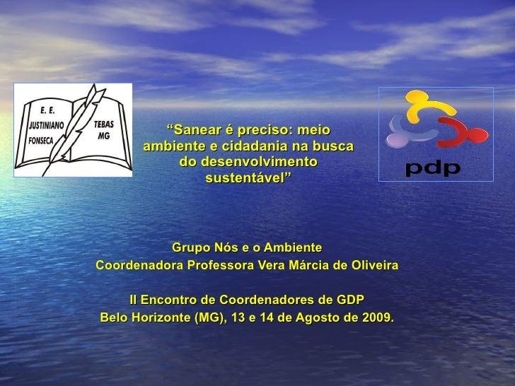 """"""" Sanear é preciso: meio ambiente e cidadania na busca do desenvolvimento sustentável"""" Grupo Nós e o Ambiente Coordenadora..."""